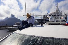 Garcia Boat Wet Sanding Gelcoat Repair 2