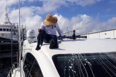 Garcia Boat Wet Sanding Gelcoat Repair 1
